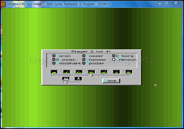 플레이어 설정 화면 중. 다양한 수준의 인공지능을 상대로 대전이 가능하다. 화면에서처럼 컴퓨터를 Unknown 으로 지정하면 랜덤한 난이도로 플레이할 수 있다.