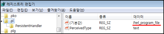 HKEY_CLASSES_ROOT.pl 항목을 찾아간 결과. 기본값에 Perl_program_file 이라고 적혀 있습니다.