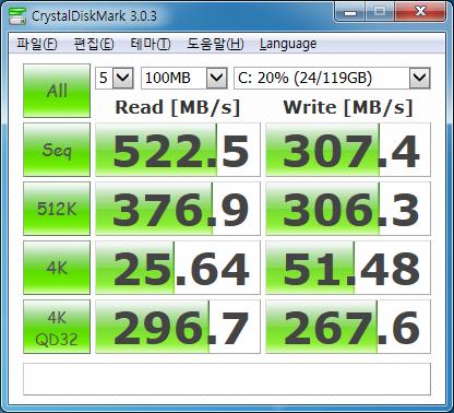 Crystal Disk Mark 검사 결과. 일반 4K 검사 결과, 전체적으로는 나쁘지 않다고 생각하지만, 특히 쓰기 결과가 영 찜찜하다.
