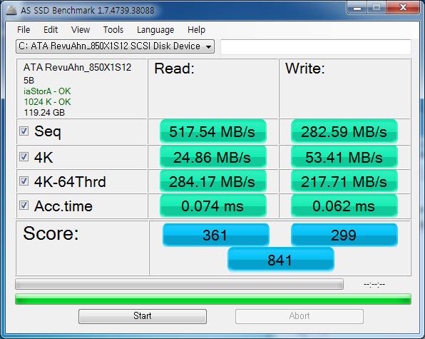 AS SSD Benchmark 검사 결과. 총점은 841점으로 나쁘지 않은 결과지만 마찬가지로 4K 결과가 영 눈에 밟힌다.